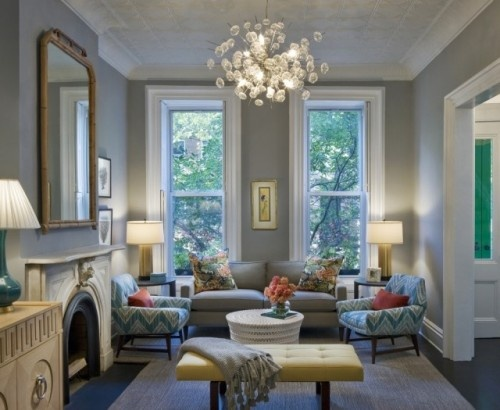 more living room arrangement inspiration, pretty blue / gray wall color and