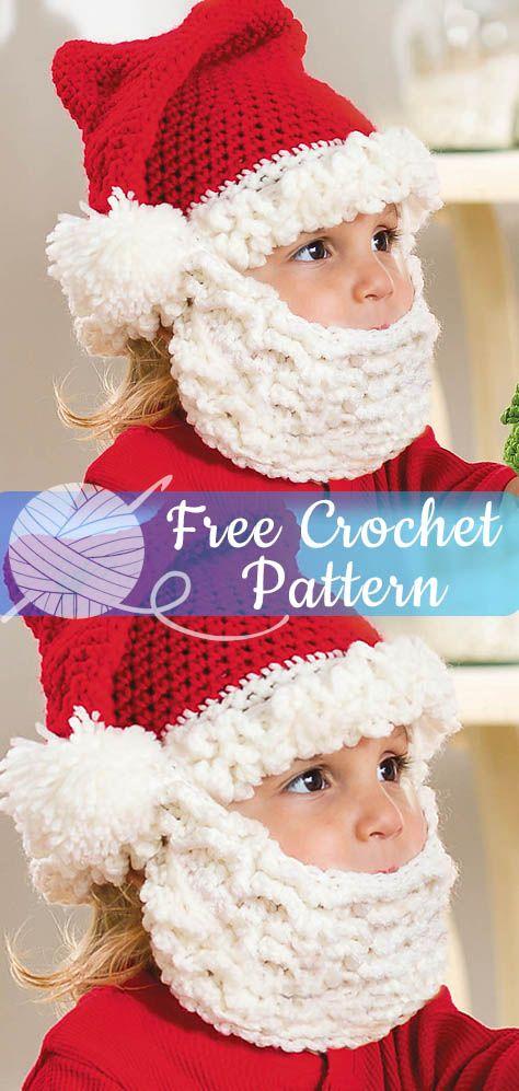 61455e818c6 Santa Hat and Beard for Kids  CROCHET FREE PATTERNS  – Easy Crochet ...