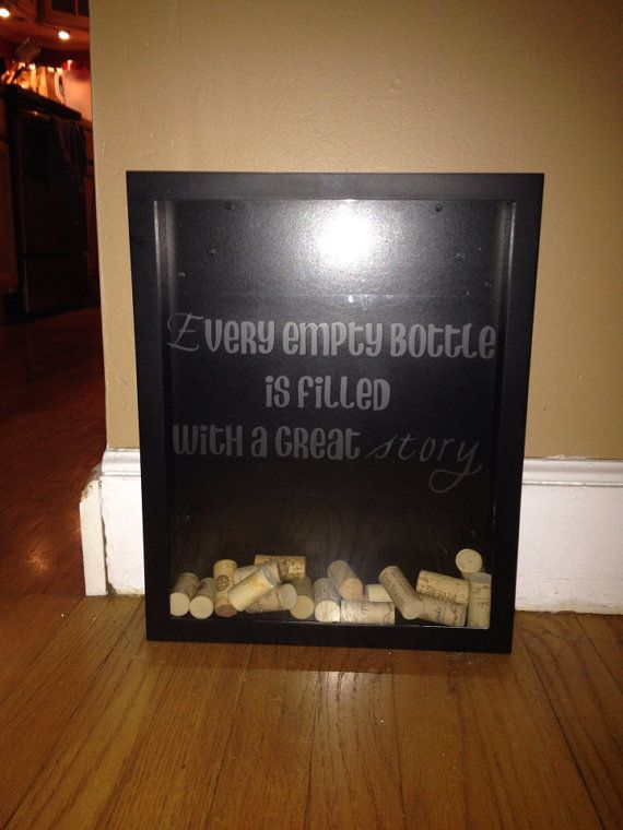 Wine Cork Display Case With Etched Glass by CustomDesignsByJenna, $60.00
