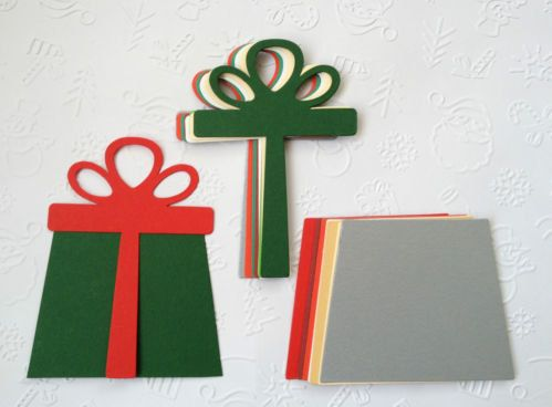 10 large Christmas Gift box Die Cuts with bows for cards/toppers cardmaking scrapbooking crafting 20 pieces in total