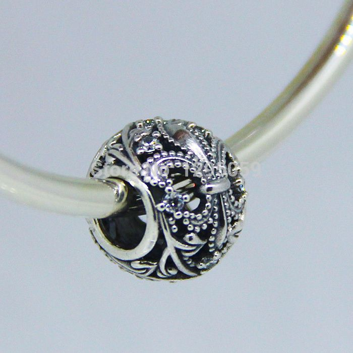Ажурные флер де лис серебряный бусины подходит для пандора браслеты 100% 925 шарма стерлингового серебра DIY мода ювелирных изделий оптовая продажа