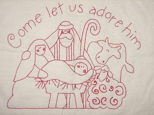 Nativity Stitchery Redwork Pinterest Sewing Patterns