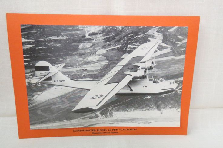Vintatge WWII Plane Picture and Statistics Condolidated Model 28 PBY Catalina American Navy Flying Boat USA Canada Flying Boat by KansasKardsStudio on Etsy