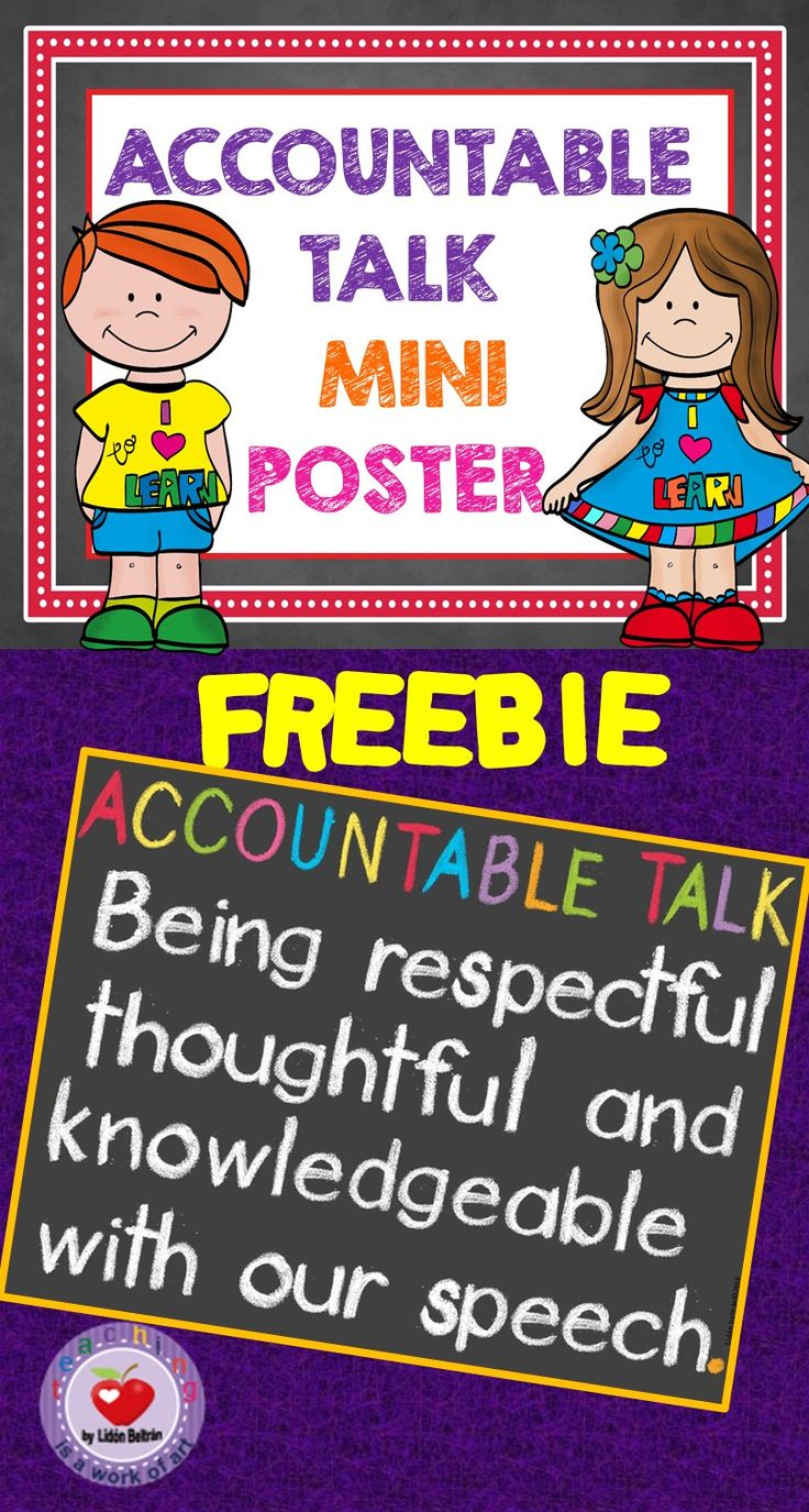 This is a sample poster stating what Accountable Talk is. It is included in a poster set with Accountable Talk Stem Statements and Questions.