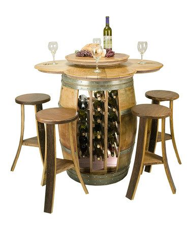 Wine Barrel Table & Open-Rack Base Set #zulily #zulilyfinds