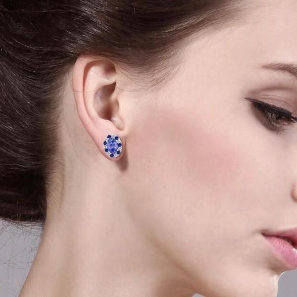 Tanzanite Earring Jacket Studs-Ear Jacket-Body Kandy Couture