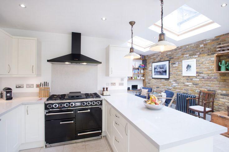 Side Return Extension, Peckham SE15, London, Kitchen Extension Ideas, Open Plan Living Design, Large Roof Windows, Bi-Folding Doors, Pitched Roof, White Kitchen Design, Pendant Lights, Classic Kitchen Designs