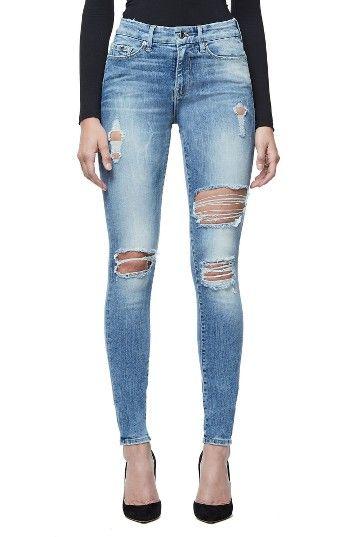 Good American Good Legs Ripped Skinny Jeans (Blue 068) | Nordstrom - Nordstrom