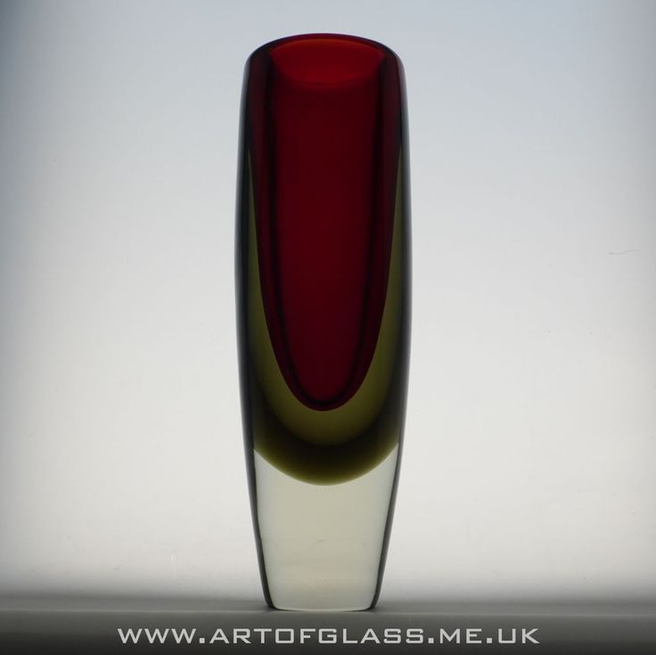 Nuutäjarvi Notsjö ruby & smoky olive green glass vase by Kaj Franck