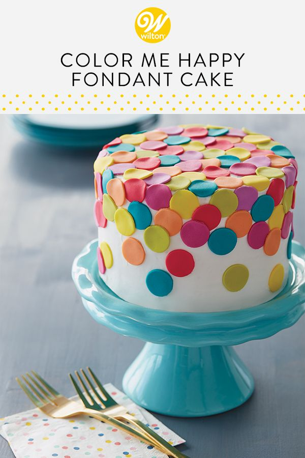 Color Me Happy Fondant Cake  Recipe  Simple fondant cake, Cake