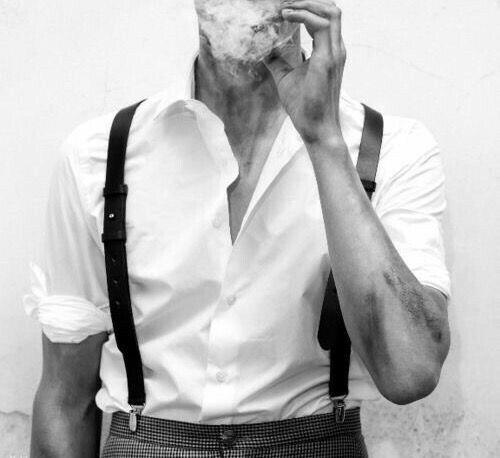 smoke, black and white, and man image