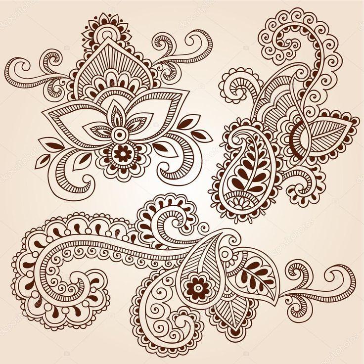 Dessinées à la main au henné paisley fleurs mehndi doodles éléments de conception illustration vectorielle floral abstrait