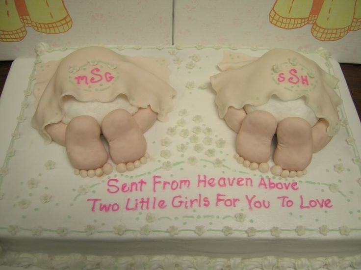 Baby shower cake for twin girls baby shower cakes for Baby shower decoration ideas for twin girls