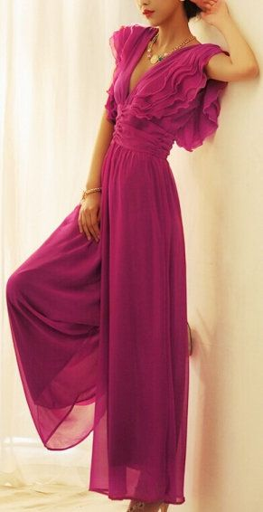 Fushcia Back Hollow-out Deep V-neck Chiffon Jumsuit: loved the color