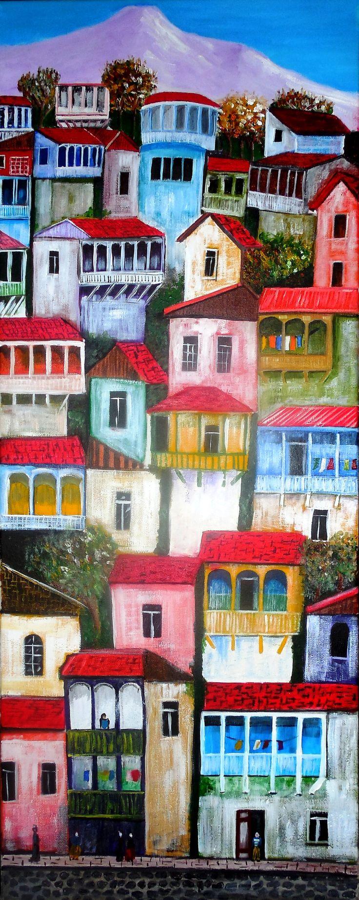 Gema Silva Casa en cerro óleo y Acrílico 40 x 80 aprox (réplica)