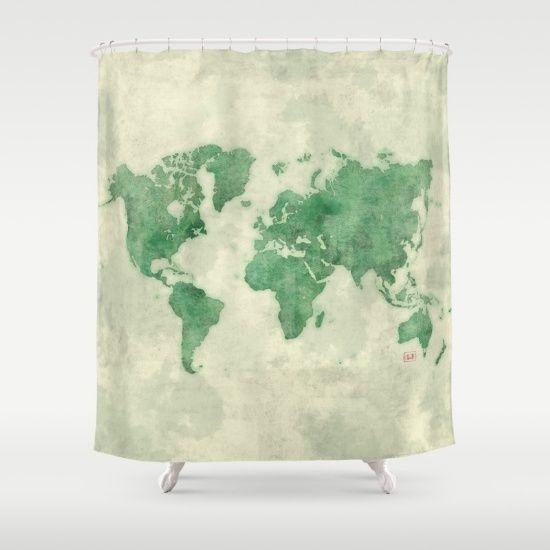 World Map Green Shower Curtain