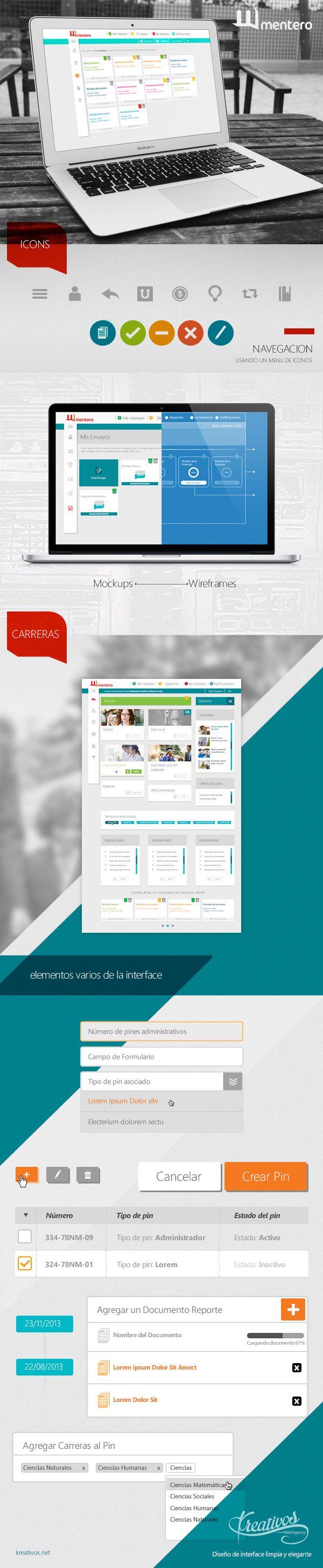 Diseño de #interface para aplicativo web mentero #behance
