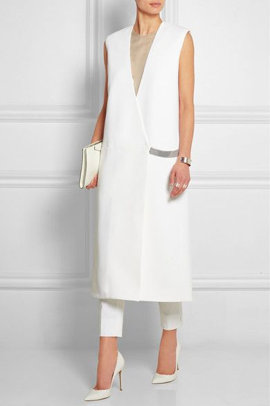 MUGLER Sleeveless stretch-cady coat