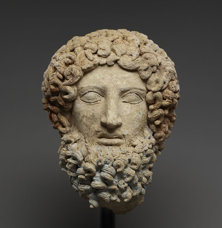 Head of Hades; Unknown; Morgantina, Sicily, Italy; about 400 - 300 B.C.; Terracotta and polychromy; 27.3 x 20.5 x 18.5 cm (10 3/4 x 8 1/16 x 7 5/16 in.); 85.AD.105