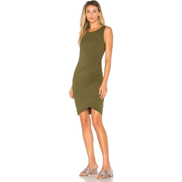 Bobi Supreme Jersey Ruched Bodycon Dress (76 AUD) ❤ liked on Polyvore featuring dresses, jersey dress, brown bodycon dress, bobi, brown dresses and bobi dresses