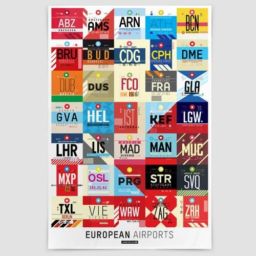 Poster featuring 35 european airport codes, inspired on vintage luggage tags.