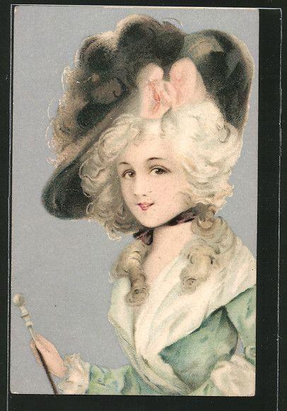 old postcard: AK Porträt einer Frau mit Hut