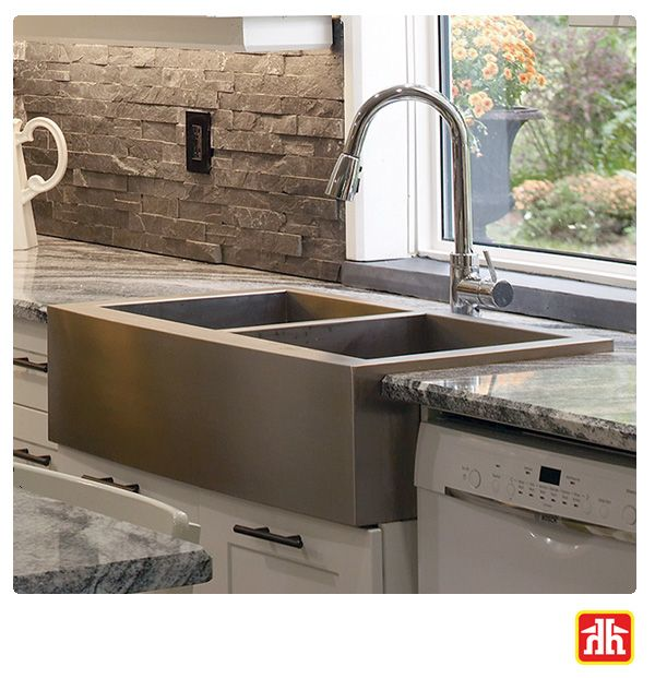 Kitchen Faucets Vancouver Bc: This Double Bowl Farmhouse Sink Has Zero Radius Corners