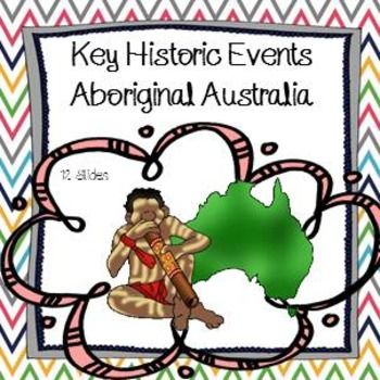 Key Historic Events Aboriginal Australia PowerPoint Contains: 12 SlidesExplore the history of Indigenous people of Australia through a timeline of Aboriginal History from first arrival to present day. These slides form the basis of a 1 hour lesson on Aboriginal history.NOTE: All sources, where appropriate, have been referenced.Please note: this product has been designed for Years 3 and above. $3
