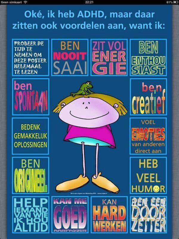 ADHD is de afkorting van de Engelse term voor aandachtstekort-stoornis met hyperactiviteit (Attention-Deficit/Hyperactivity Disorder). Kinderen met ADHD zijn rusteloos, impulsief en kunnen zich moeilijk concentreren