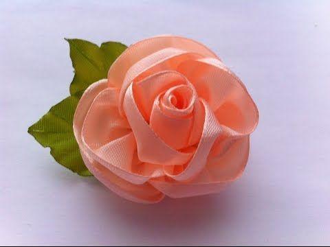 Украшение на заколку Канзаши / Персиковая Роза / Kanzashi Rose - YouTube