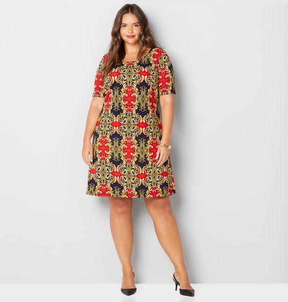Status Scroll Textured A-Line Dress-Plus Size Dress-Avenue ...