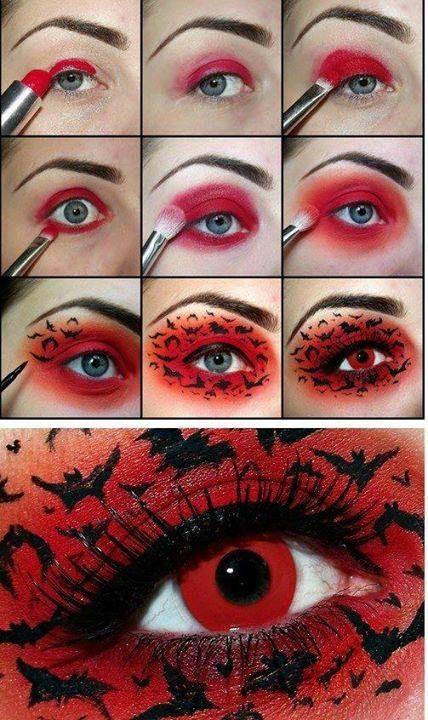 Tutorial trucco Halloween facile da realizzare!Cosa serve: rossetto e ombretti rosso, eyeliner nero, mascara, lenti rosse: http://www.loacenter.com/