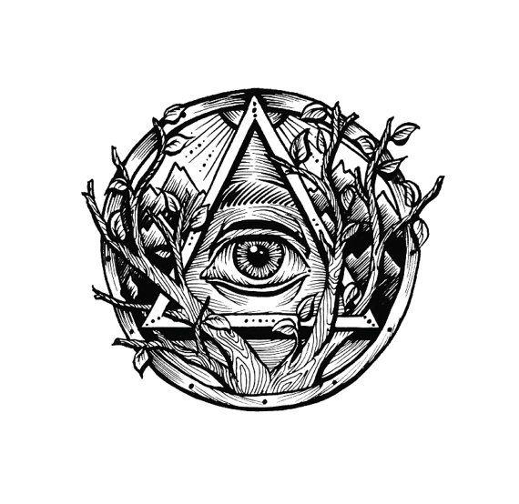 Ver todo ojo triángulo tatuaje temporal Rub por ABlinkInkTattoos