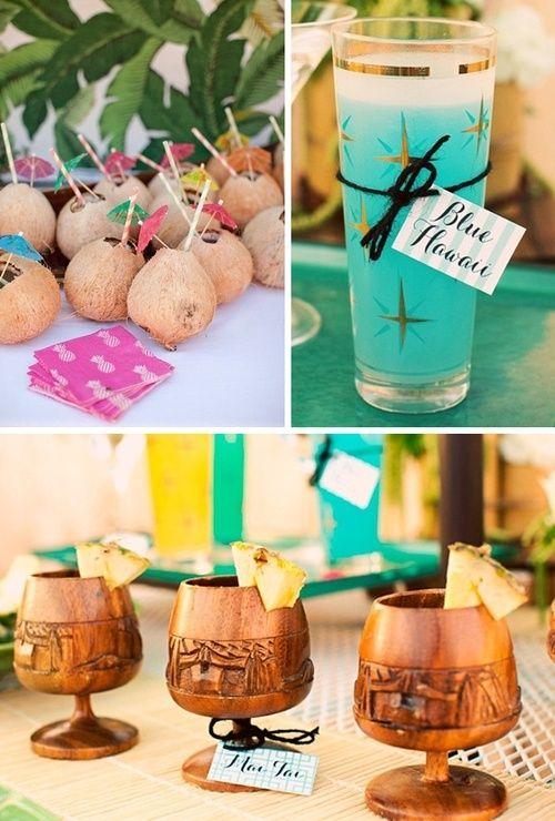 Mid century tiki party cocktails