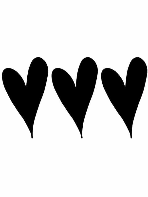 Väggdekor - Tre hjärtan för barnrummet, passande till en tavla.