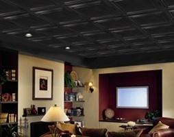 Drop ceiling tile...paint current ceiling  tiles black?