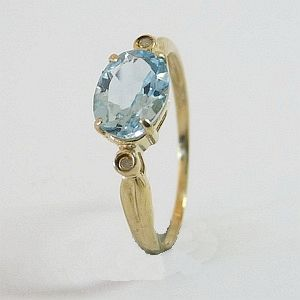 1.4 CTs. Genuine Blue Topaz in Solid (K Yellow Gold with 2 Diamonds Ring Size:O-7.25    RI388