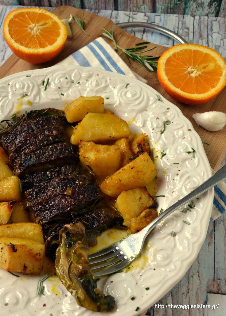 Το ψητό του χορτοφάγου: μελωμένα πορτομπέλο με πατάτες κ πορτοκάλι στον φούρνο…