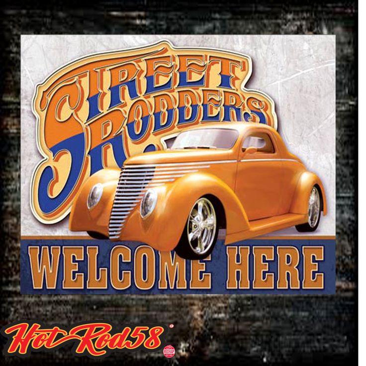 Hot Rat Rod Street Vintage Car Garage Rustic Tin Metal Sign Cave
