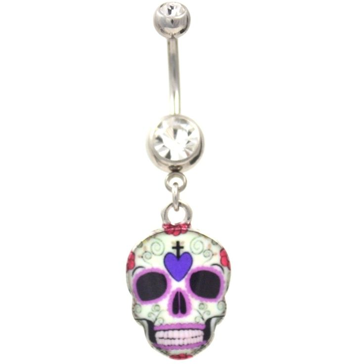 Purple Skull Belly Button Ring