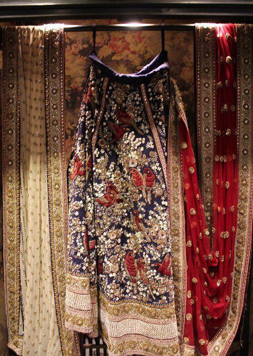 Ornate embroidery on a Sabyasachi skirt.
