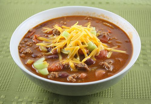 "Wendy's Chili - I couldn't tell you if it tastes like Wendy's (been too long since I had chili from Wendy's) but this is a good chili recipe.  I drained and rinsed the beans even though the recipe said not to, and I added the ""optional"" water to make up for the lost liquid.  Served with a pile of shredded cheddar on top :)"