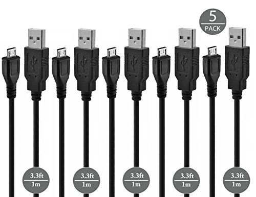 Cheap Premium High Speed Micro USB Cable [5-Pack] - Fastest Most Durable Charging Cable for Samsung Nexus LG Motorola Android Smartphones PS4 Controller Portable Hard Drives Power Banks Portable Bluetooth Speakers SAT NAV and More - Black Best Selling