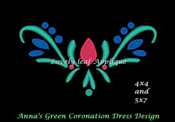 This shop has just about Every embroidery design for the Frozen Dresses. This one is a replica of the one on the bodice of Anna's green dress for Elsa's Coronation. Would be cute to put on a black shirt and sew a green skirt to it for a DIY Dress up Dress. Anna Green Coronation Dress Embroidery Design by LovelyLeafApplique, $3.75.