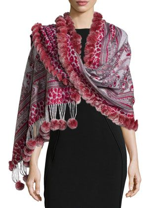 Reversible Cashmere Fur-Trim Wrap, Red by Gorski at Neiman Marcus Last Call.