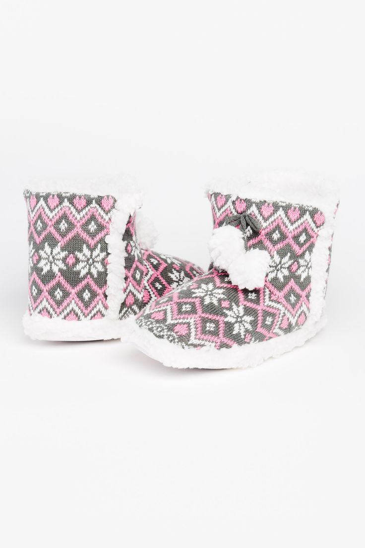 Knit Sherpa bootie slippers