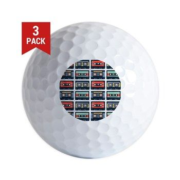 Cassettes Pattern Golf Ball from cafepress store: AG Painted Brush T-Shirts. #cassettes #pattern #golf