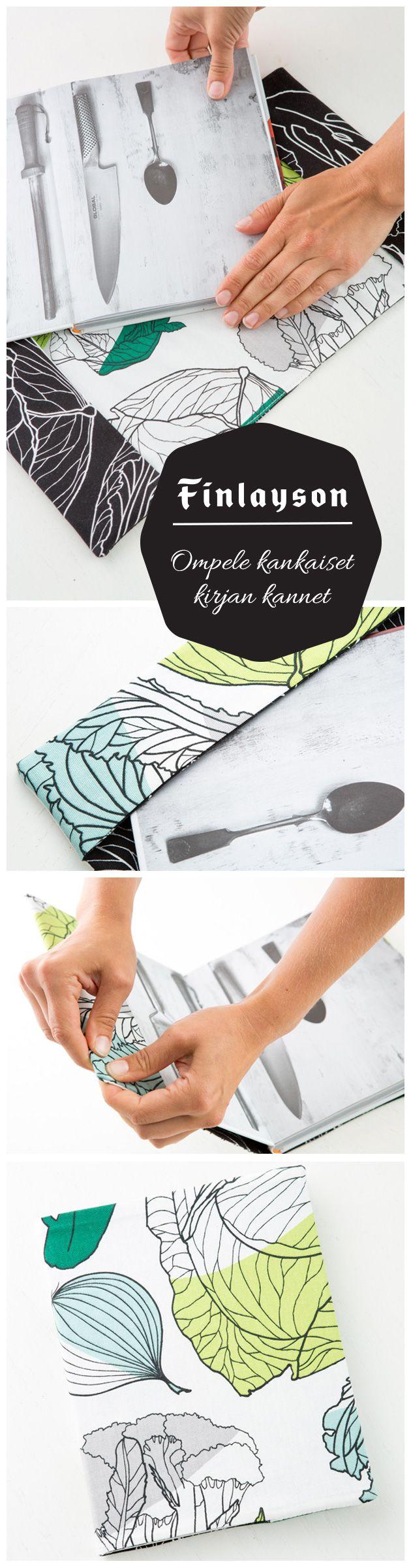 DIY book cover || Uudista kirjan kannet kauniilla kankailla.