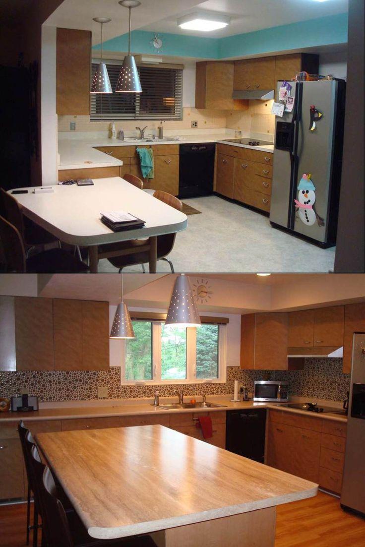 Kitchen Renovation With Travertine Gold 180fx Island And Sand Stone Laminate Countertops
