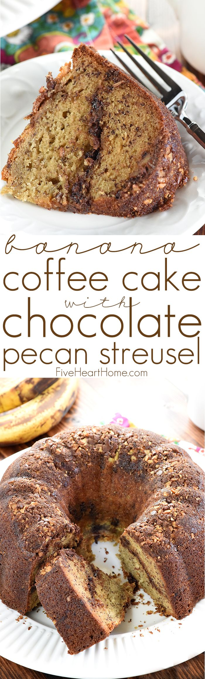 Banana Coffee Cake with Chocolate Pecan Streusel ~ this decadent Bundt cake has a dense, moist interior, a crunchy exterior, and a sweet surprise ribboned throughout, making it a delicious sweet treat for breakfast, brunch, or even dessert! | FiveHeartHome.com